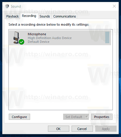 Windows 10 Sound Dialog Recording Tab