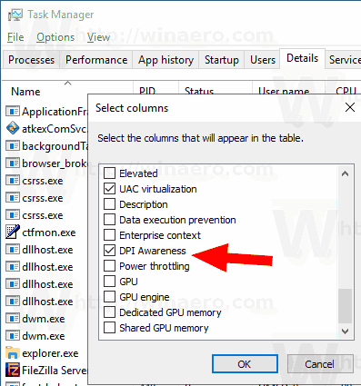 See DPI Awareness in Task Manager in Windows 10