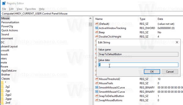 Snap Pointer To Default Button in Windows 10