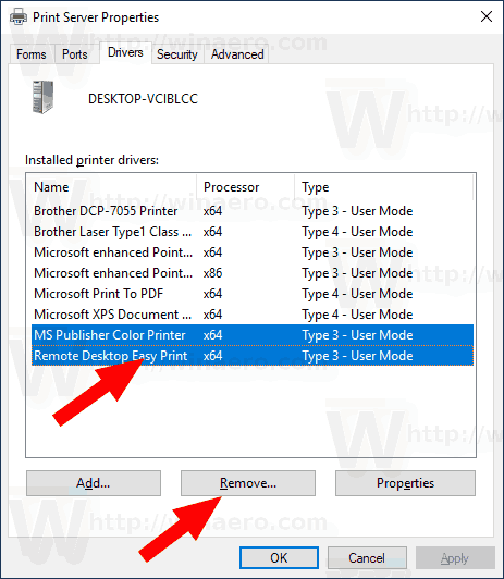 how to remove printer drivers windows 10