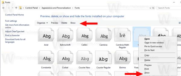 Windows 10 Show Hidden Font