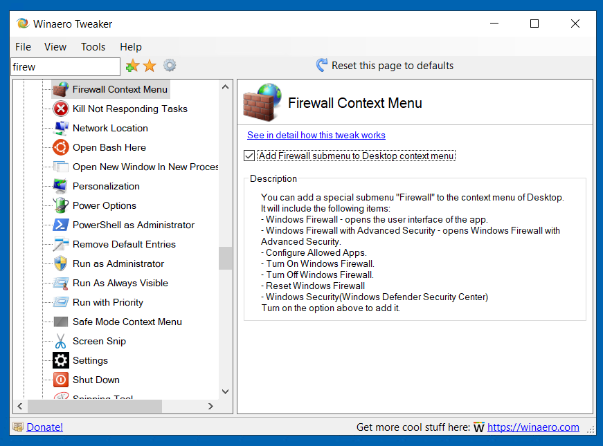 Windows Firewall Context Menu Tweaker 12