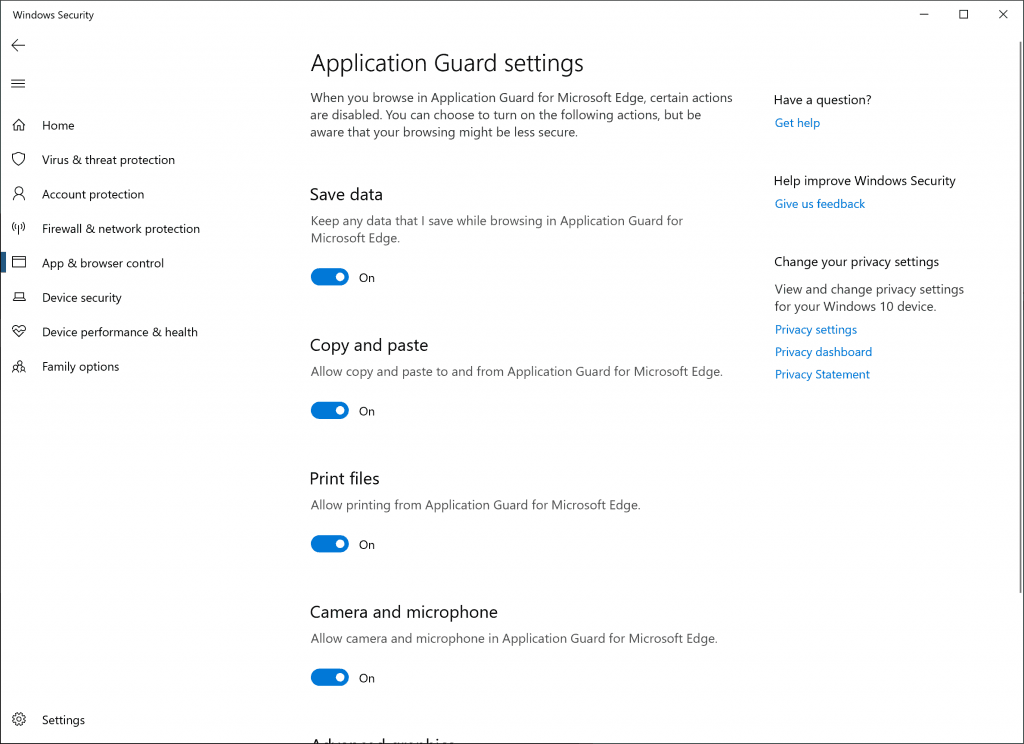 18277 Windows Defender Application Guard Settings