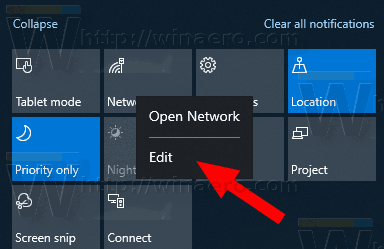 18277 Action Center Edit Context Menu