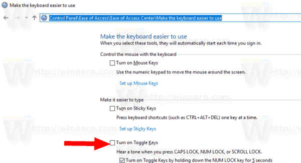 Enable Toggle Keys Control Panel Windows 10