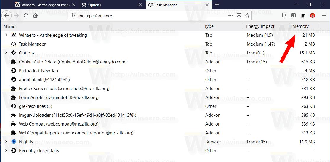 Firefox 65 Task Manager Memory Column