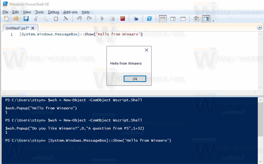 MessageBox NET PowerShell Windows 10