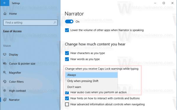 Narrator Caps Lock Warnings Windows 10