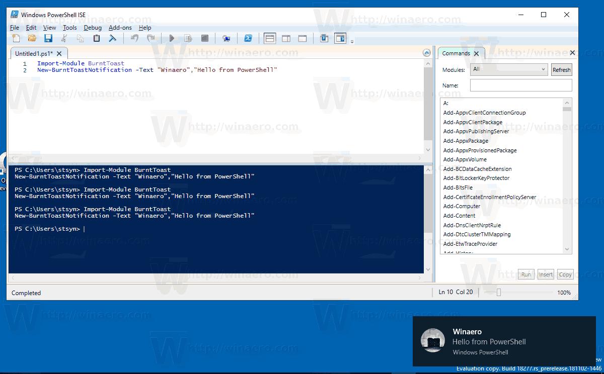 Toast Notification PowerShell Windows 10