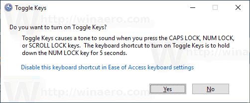 Toggle Keys Confirmation Windows 10