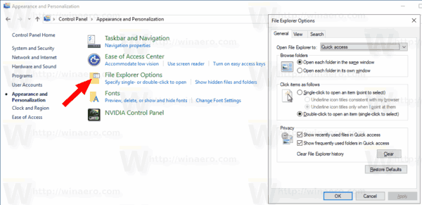 WIndows 10 Control Panel File Explorer Options