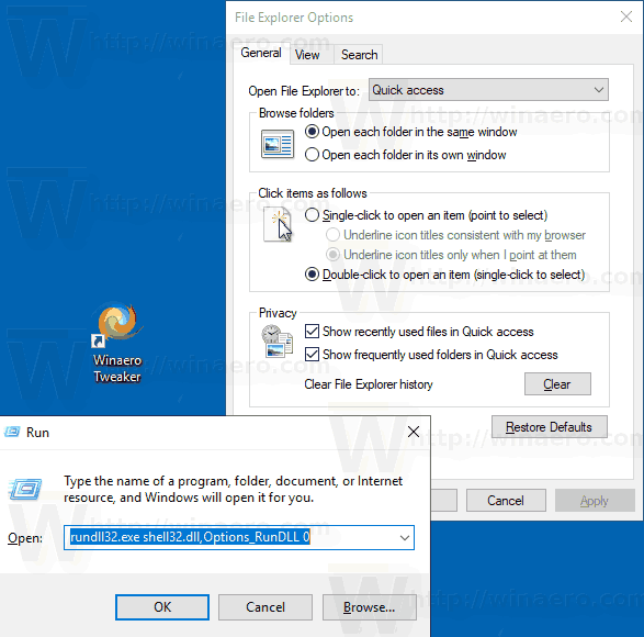 WIndows 10 Rundll32 Folder Options