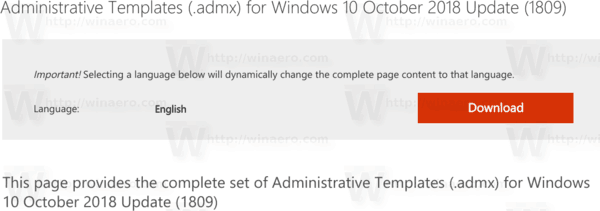 Administrative Templates for Windows 10 Version 1809