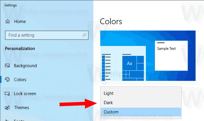 Windows 10 Choose Color Mode