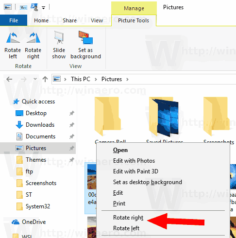 Windows 10 Default Rotate Image Context Menu