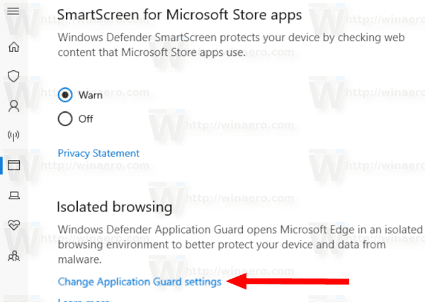 Windows 10 Defender Change Application Guard Settings Link
