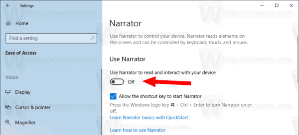 Windows 10 Disable Enable Narrator Shortcut