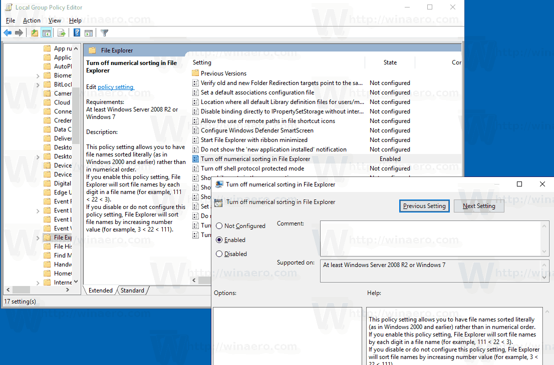 Windows 10 Disable Numerical Sorting GP