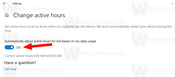 Windows 10 Enable Intelligent Active Hours