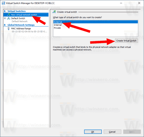 Windows 10 Hyper V Create New Virtual Switch 2