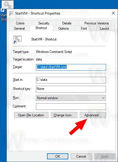 Windows 10 Hyper V VM Shortcut Properties