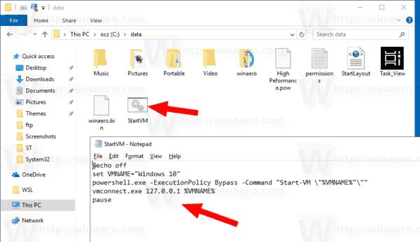 Windows 10 Hyper V Command Line Batch File