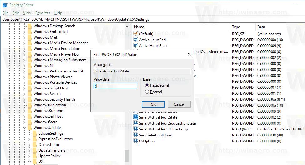 Windows 10 Intelligent Active Hours Tweak