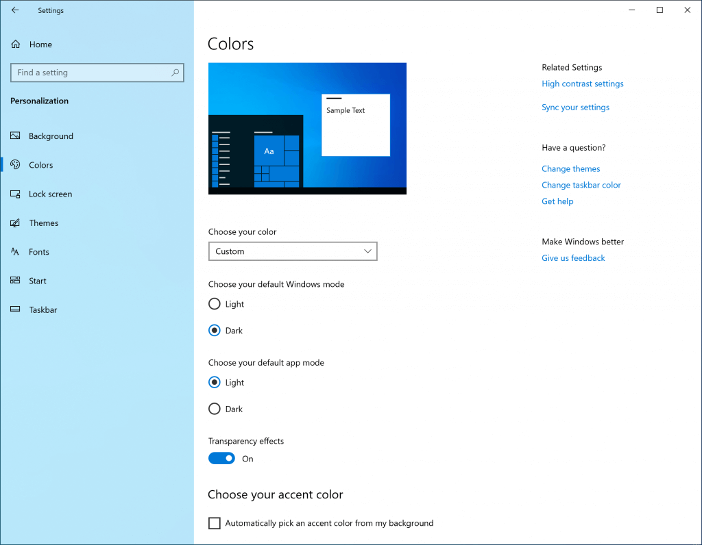 Windows 10 Light Theme Colors
