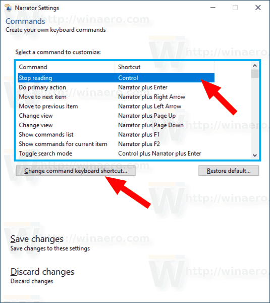Windows 10 Narrator Change Command Shortcut