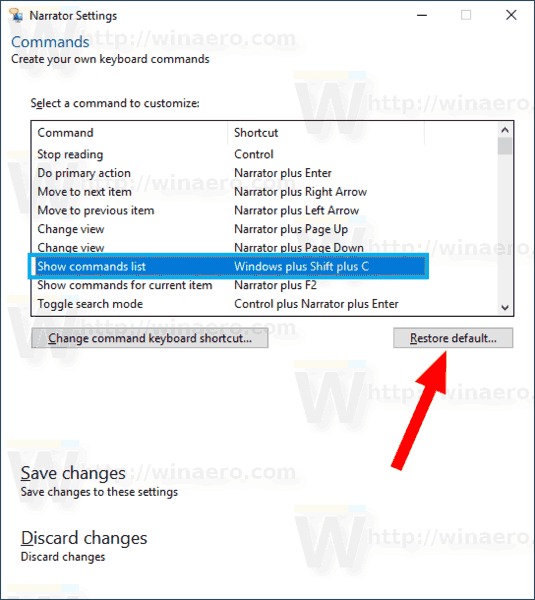 Windows 10 Narrator Command Restore Default Shortcut