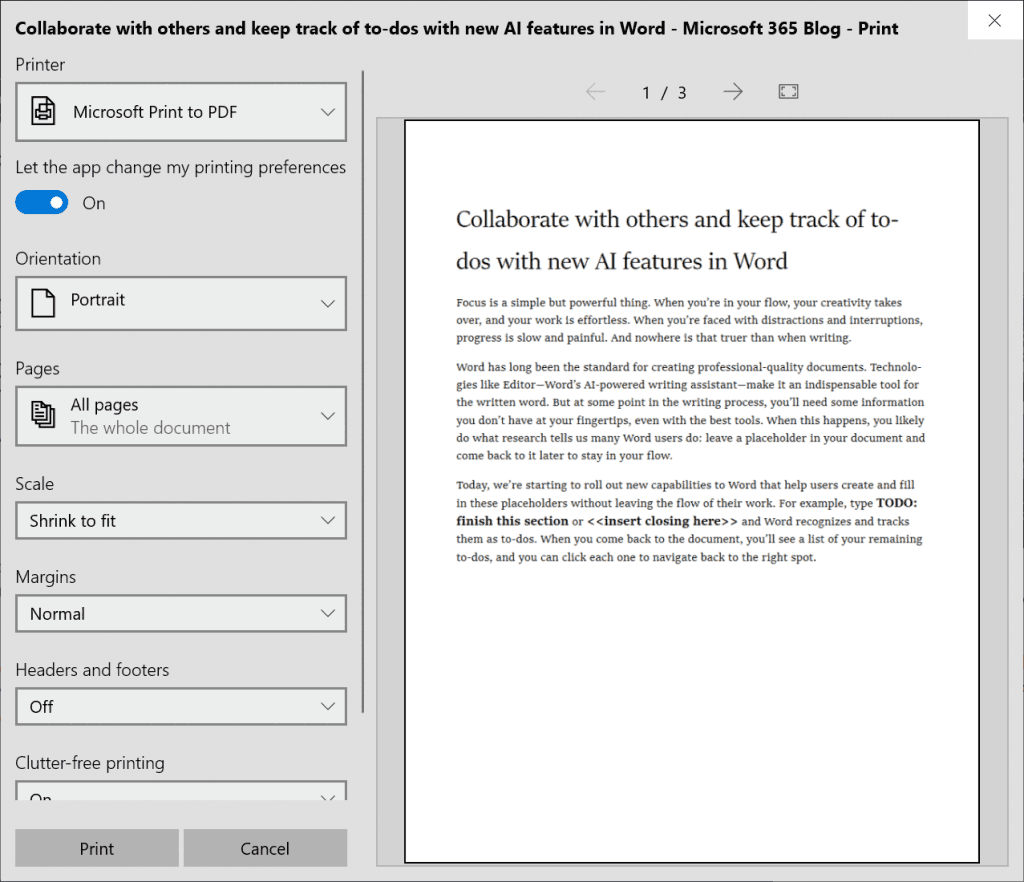 Windows 10 Print Dialog Improvements