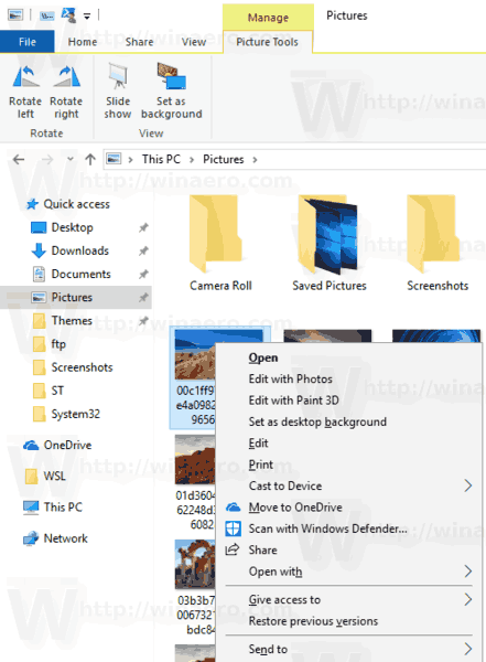 Windows 10 Removed Rotate Image Context Menu