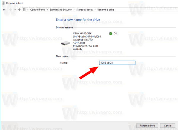 Windows 10 Rename Drive Storage Spaces