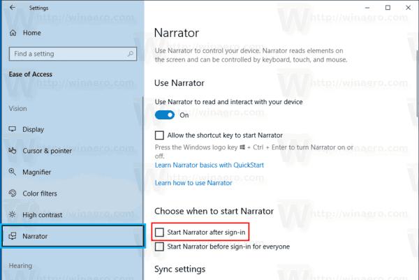 Windows 10 Start Narrator After Sign In