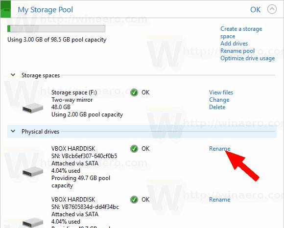 Windows 10 Storage Spaces Drive Rename Link