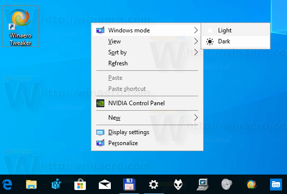 Windows Mode Context Menu