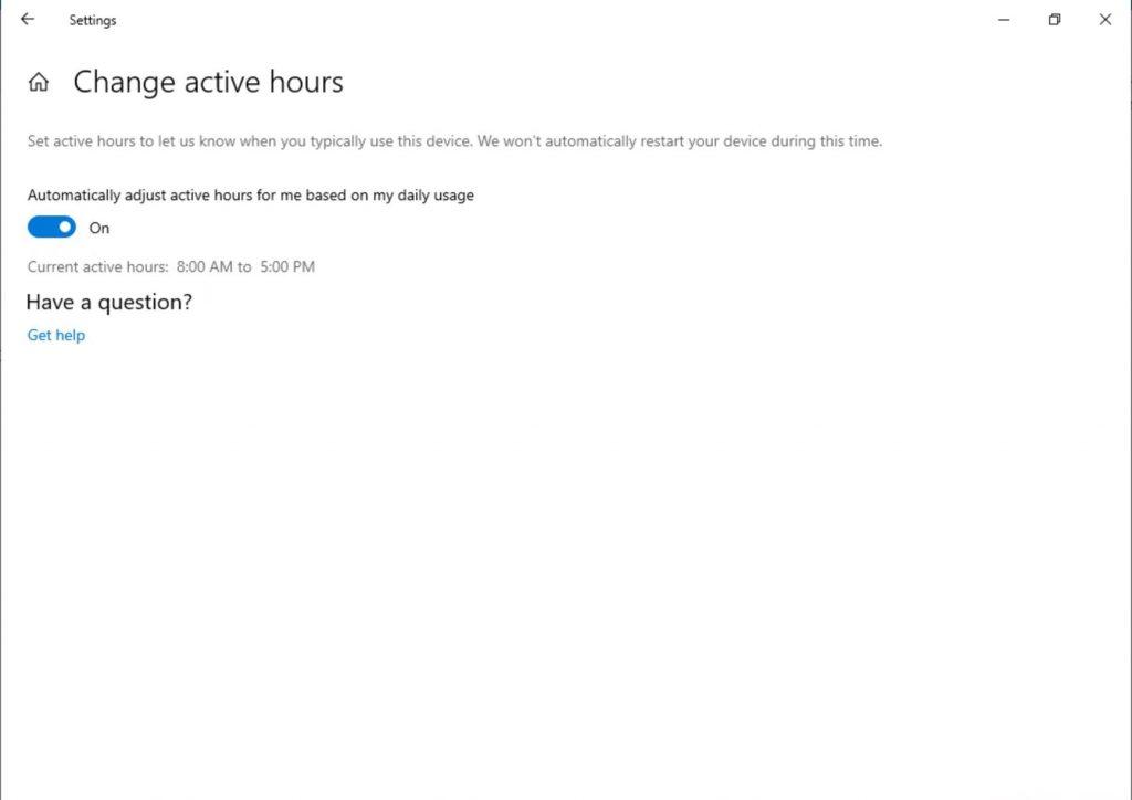 Windows Update Active Hours Build 18282