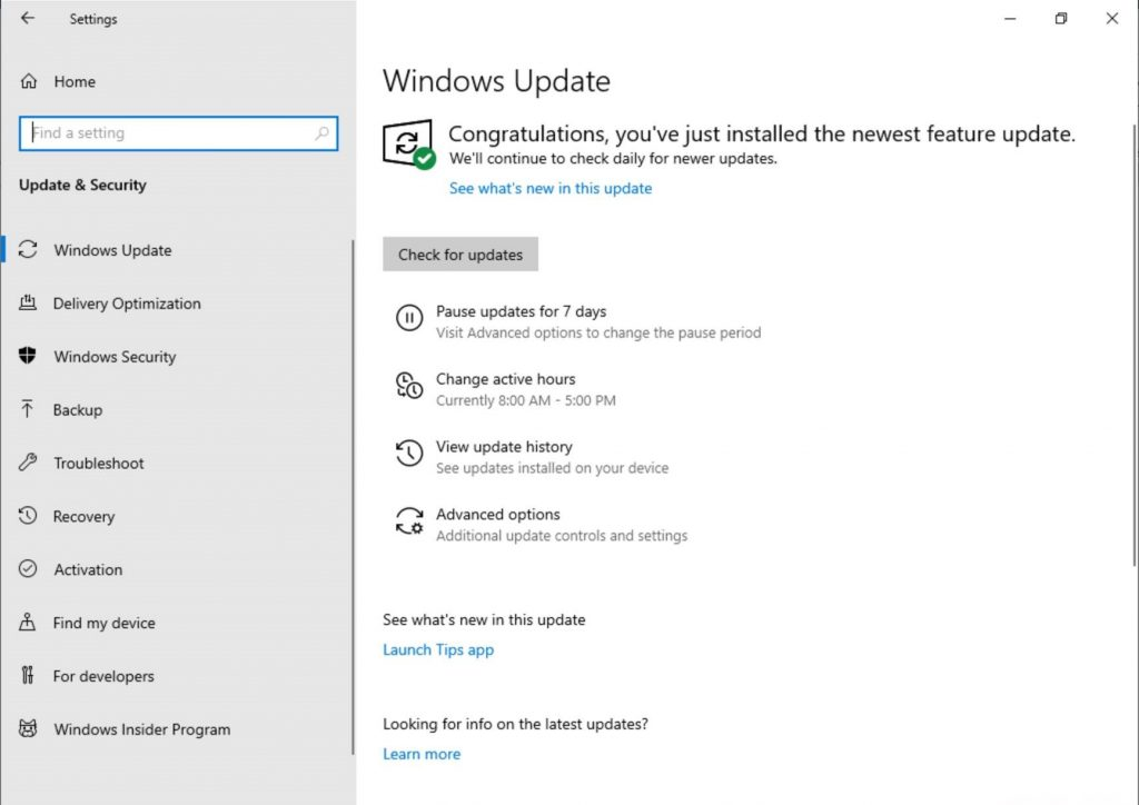Windows Update Changes Build 18282