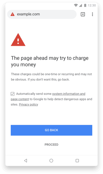 Chrome Unclear Subscription Warning