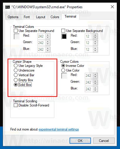 Change Command Prompt Cursor Shape Windows 10