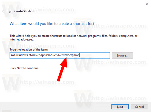 Create Shortcut To App Page In Microsoft Store