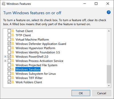 Optional Windows Features Dlg
