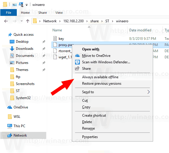 Window 10 Make File Always Available Offline