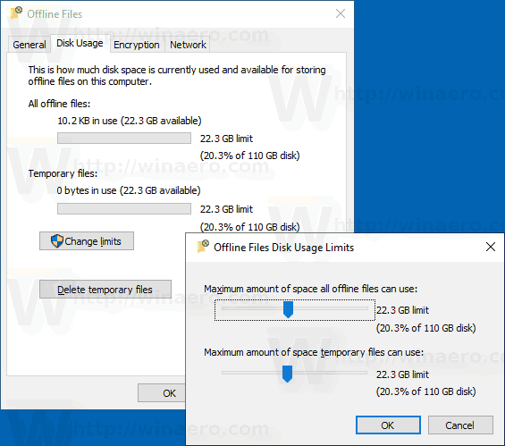 Windows 10 Change Offline Files Limits