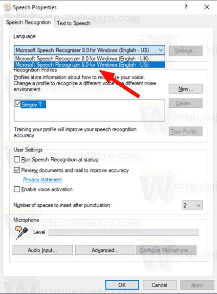 Change Speech Recognition Language in Windows 10