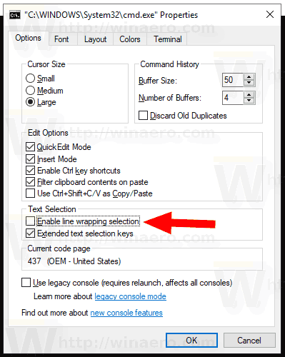 Windows 10 Disable Line Wrapping Console Selection
