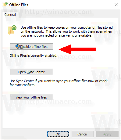 Windows 10 Disable Offline Files
