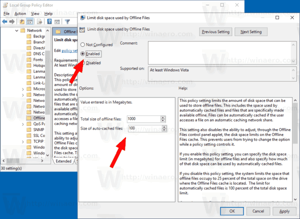 Windows 10 Group Policy Change Offline Files Limits