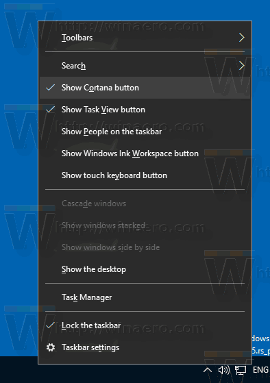 Windows 10 Hide Cortana Button