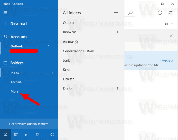 Windows 10 Mail More Folders